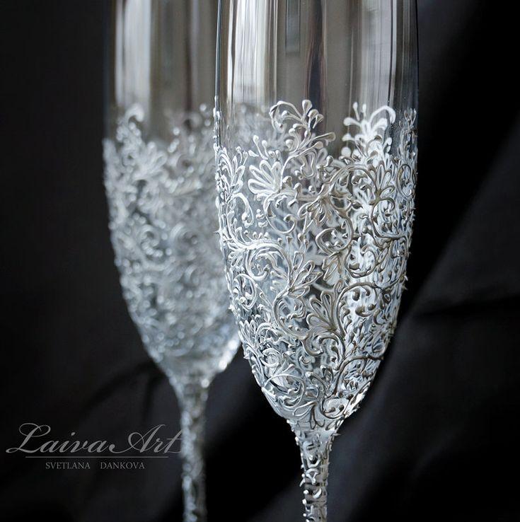Flautas de champán copas de Champagne tostado flautas por LaivaArt