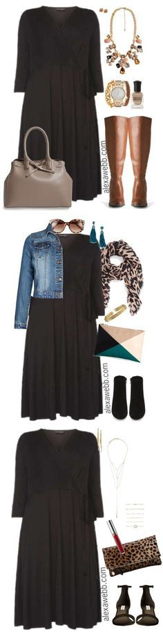 Plus Size Black Wrap Dress Outfit - Plus Size Fashion for Women - http://alexawebb.com #alexawebb
