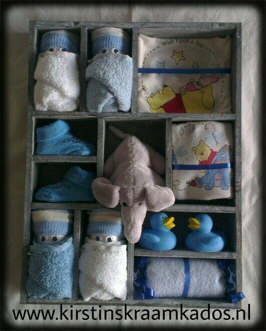 Letterbak blauwe kraamkado's/Type Case Blue Baby Gifts