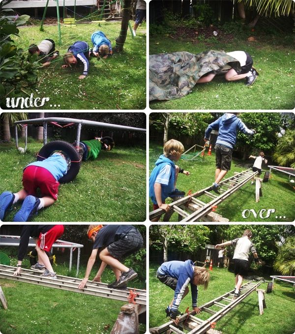 I know these are boy party ideas, but I would totally set this up as a permanent fixture in our yard. These boys need to work off energy every day!