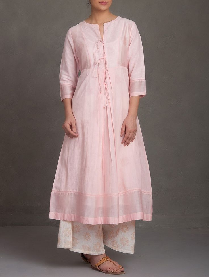 Buy Pink Round Neck Tie-Up Front Cotton-Linen Kurta with Lining (Set of 2) Online at Jaypore.com