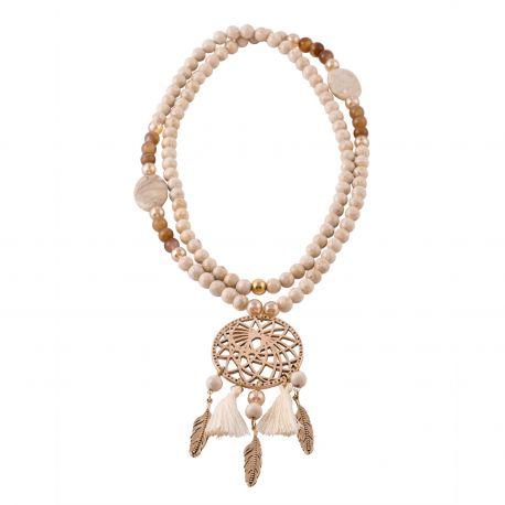 Sautoir perles OTTAWA ecru et or