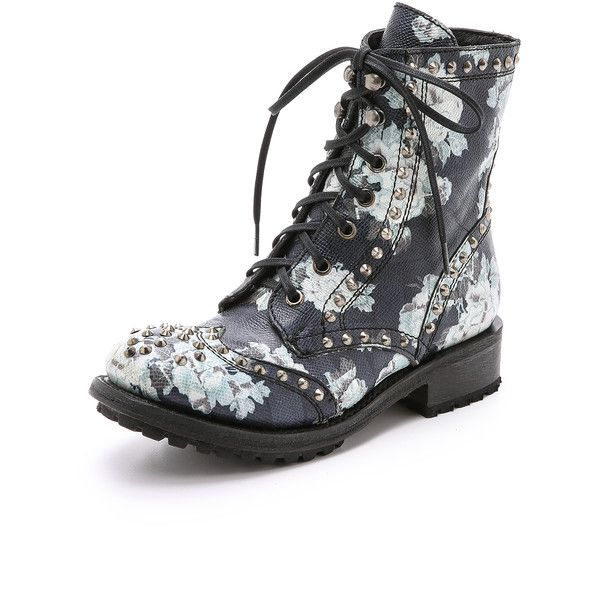 Ash Rare Floral Combat Boots ($430) ❤ liked on Polyvore featuring shoes, boots, ankle booties, combat booties, lace up booties, army boots, studded boots and military boots