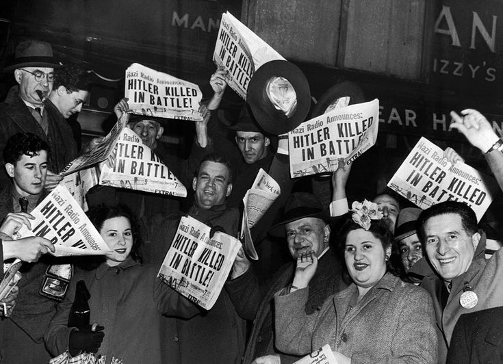 The subway rush hour is brought to a standstill in NYC, May 1, 1945, as the report of Hitler's death was received. THe German leader had shot himself in the head in a bunker in Berlin on April 30, 1945. His successor, Karl Donitz, announced on German radio that Hitler had died the death of a hero, and that he would continue the war against the Allies.