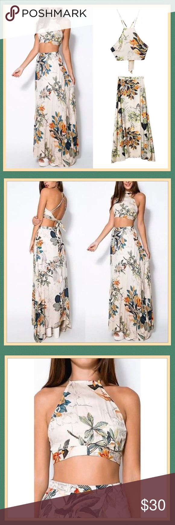 """🌺 Floral Two Piece Crop Top & Skirt 🌺 Floral Two Piece. Super cute; didn't fit my chest 😤. Crop top with adjustable halter & tie back. Floor length skirt. Lightweight cotton material.  Measurements: Top (Length 11""""), Bottom (Waist 26"""", Length 39""""). Dresses"""