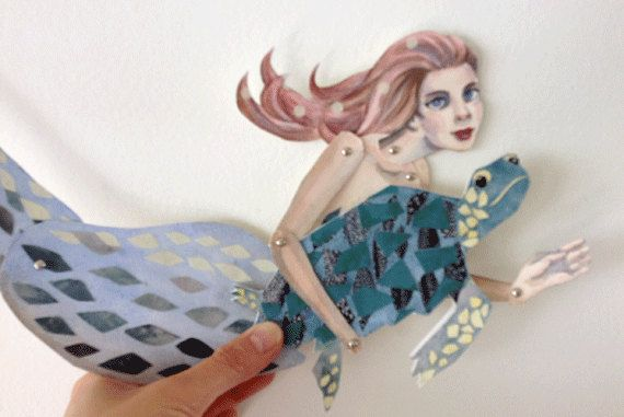 DIY Sea Turtle  Mermaid Printable PDF Card Paper Puppet Set for
