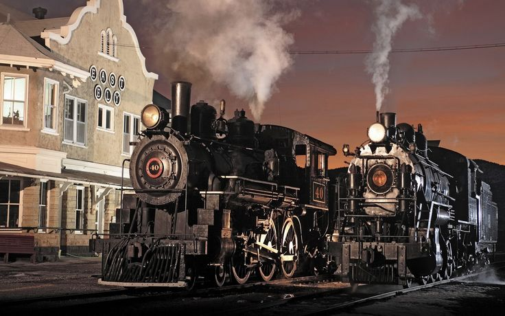 vintage, trem, vapor, crepúsculo