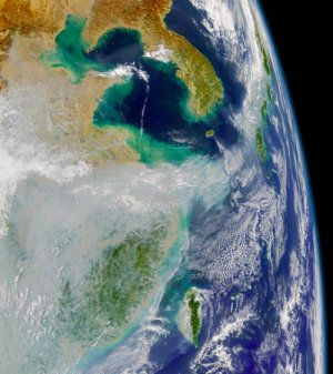 "Air pollution from Asia affecting world's weather. Story based on materials provided by Texas A&M University. Photo: ""Satellite photo shows huge air pollution clouds at far left. Japan is on the right. (Credit: JPL / NASA)"" http://www.sciencedaily.com/releases/2014/01/140121130034.htm"