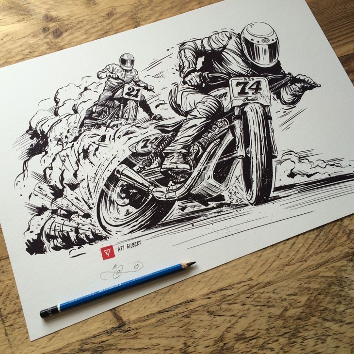 Event artwork / illustration & design for Roland Sands and Indian Motorcycle. Hand drawn type / logo's and illustration for their Super Hooligan class Flat Track Motorcycle Racing event in Vegas and subsequent tour