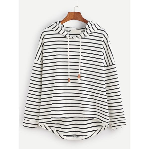 Black White Striped Drop Shoulder High Low Hooded Sweatshirt (46 BRL) ❤ liked on Polyvore featuring tops, hoodies, black and white, striped hooded sweatshirt, sweater pullover, striped hoodie, hooded pullover sweatshirt and hooded pullover