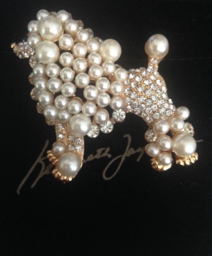 Kenneth+Jay+Lane+Faux+Pearl+&+Rhinestone+Crystal+POODLE+Dog+Pin+Brooch+2+1/2+KJL+#KennethJayLane