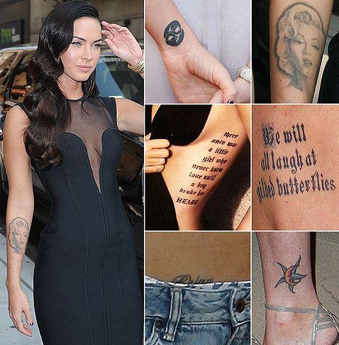 Megan Fox. Love her tattoos. Her portrait of Marilyn is beautiful ink work