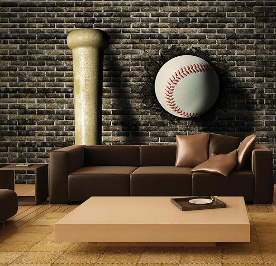 Beautiful baseball superhero mural self adhesive wall for Baseball mural wallpaper