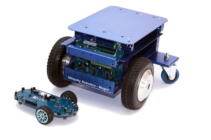 ROS Discourse General: Magni a low cost 100kg payload ROS robot at ROSCon 2017  @davecrawley wrote:  We are Ubiquity Robotics a community project to create ROS based robot platforms meet us at ROSCon 2017 in Vancouver.  image.jpg1088x725 180 KB  Our main platform is Magni - a ROS platform that has a 100kg payload capacity. It is designed to be a extensible jumpstart point for you to develop you own robot applications using ROS. See it in person at ROSCon.  Check us out on Github…