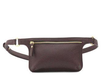 POLA bolso de la cintura de cuero negro grava