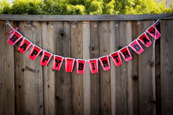 Handmade Red Solo Cup Banner Happy Birthday by DawnNicoleDesign, $10.00 !!!GOT IT!!!!