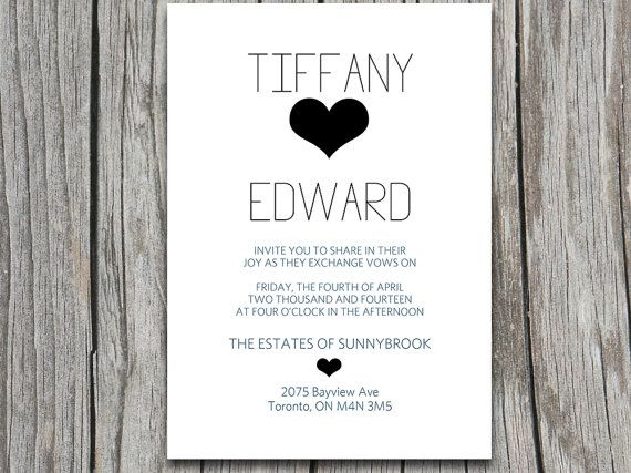 DIY DOWNLOAD Typography With Heart Wedding Invitation Microsoft Word  Template   Simple Wedding Invitation For The Modern Wedding By  PaintTheDayDesiu2026