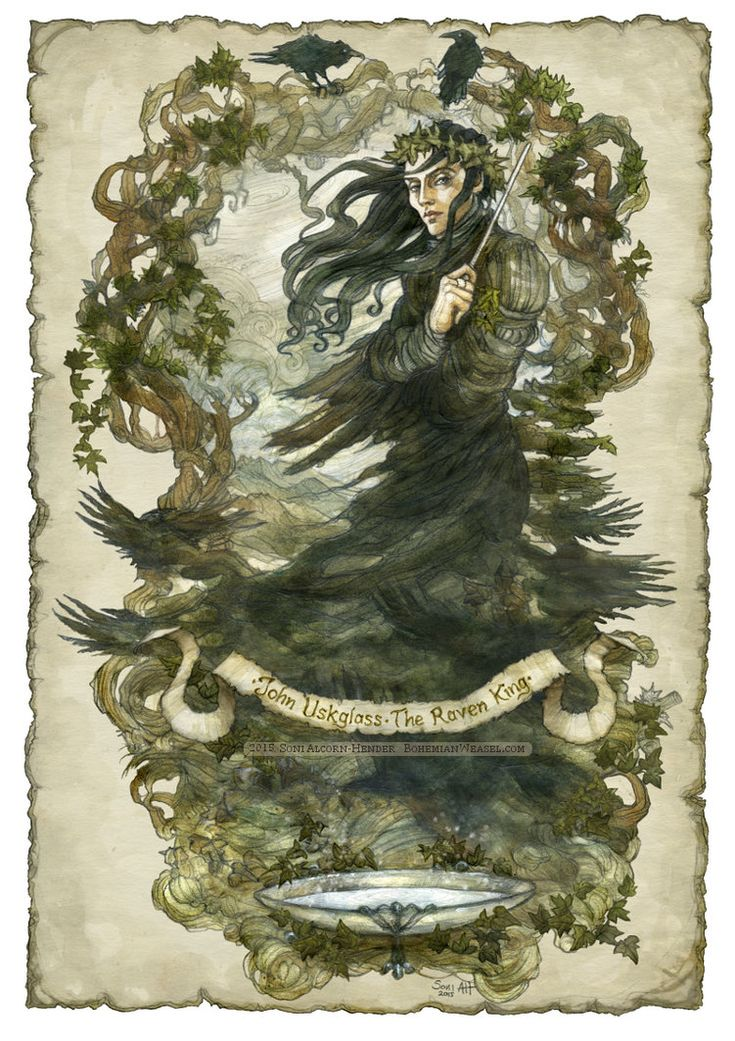 """""""The land is all too shallow It is painted on the sky And trembles like the wind-shook rain When the Raven King passed by""""  ― Susanna Clarke, Jonathan Strange & Mr Norrell.  John Uskglass, the Raven King crowned in ivy by BohemianWeasel"""