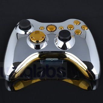 Xbox 360 Controller Shell - Silver Chrome with Gold Buttons