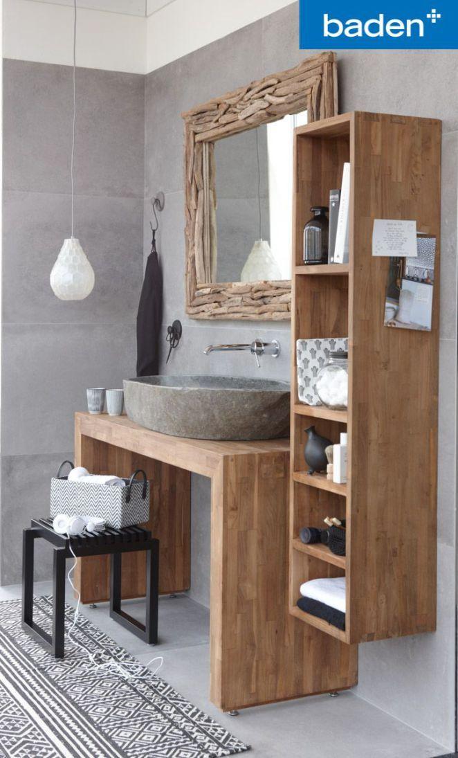 Idée décoration Salle de bain Een badkamermeubel van echt teakhout.