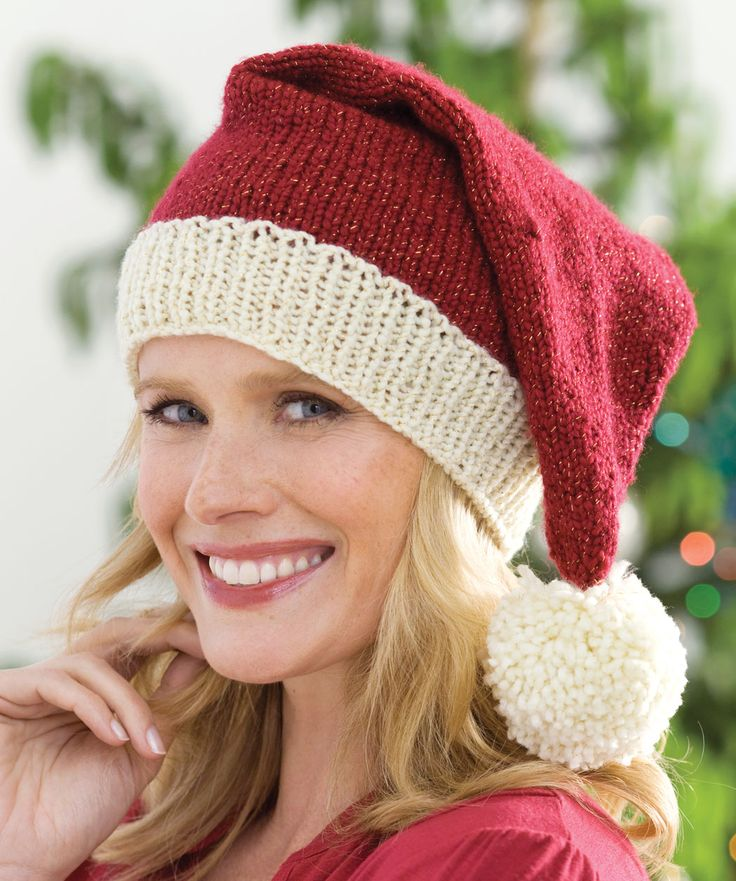 Love This.  It would be great to ad the fun fur to the ribbed edging.  Knit Santa Hat