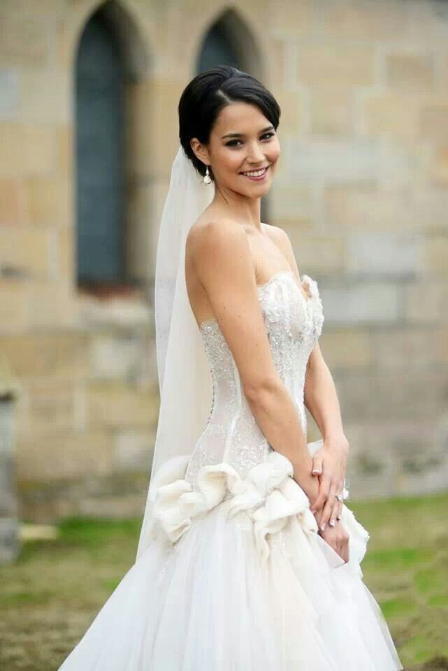 April on her wedding day
