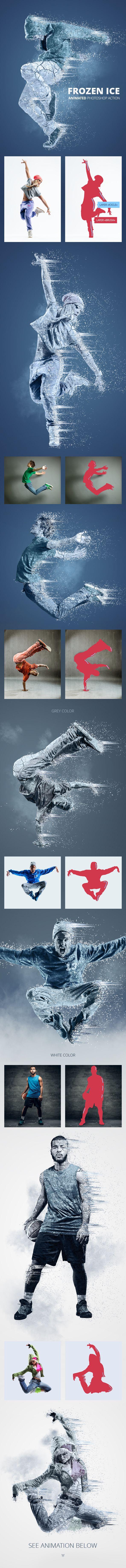 Frozen Ice Animated Photoshop Action — Photoshop ATN #inimation action #blue photoshop action • Download ➝ https://graphicriver.net/item/frozen-ice-animated-photoshop-action/19432116?ref=pxcr