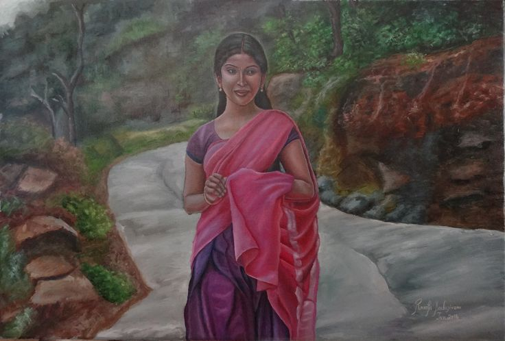 GIRL IN ROSE HALF SAREE, 16 & 20 Inches, Oil on Canvas, That is young girl from an average family. Most girls in the villages are made to get married at a very early age as that is how the village's tradition goes. Probably she is worried about the man who may be her husband.