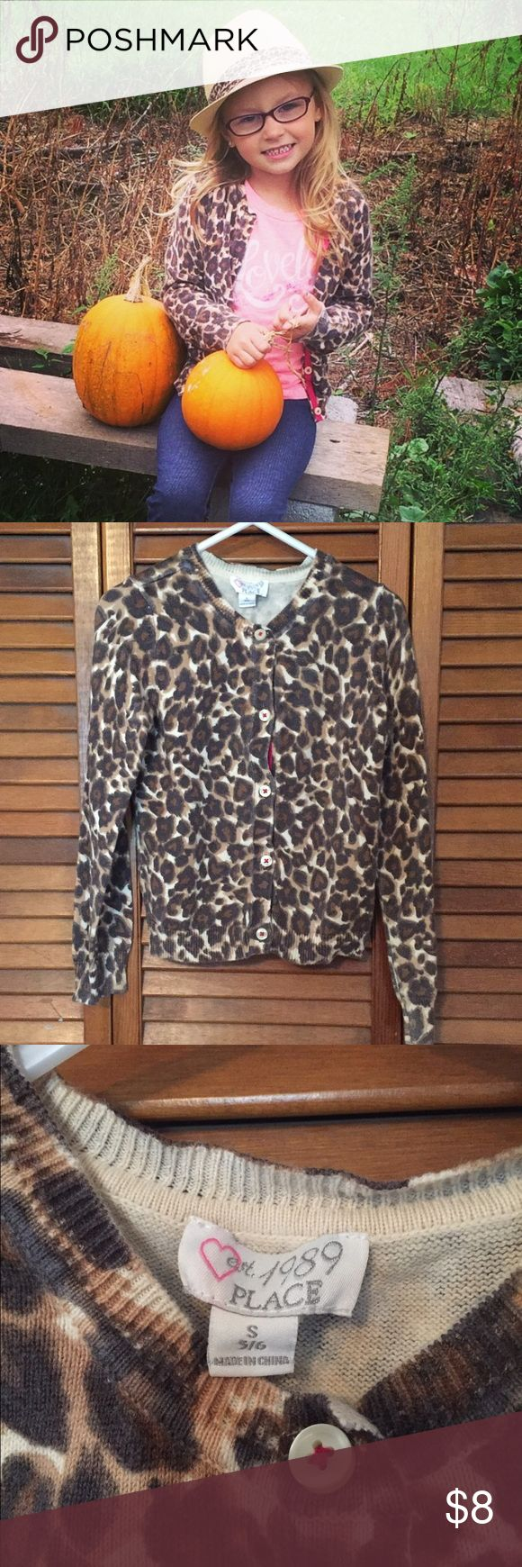 Girls Children's Place Leopard Cardigan | Leopard sweater, Leopard ...