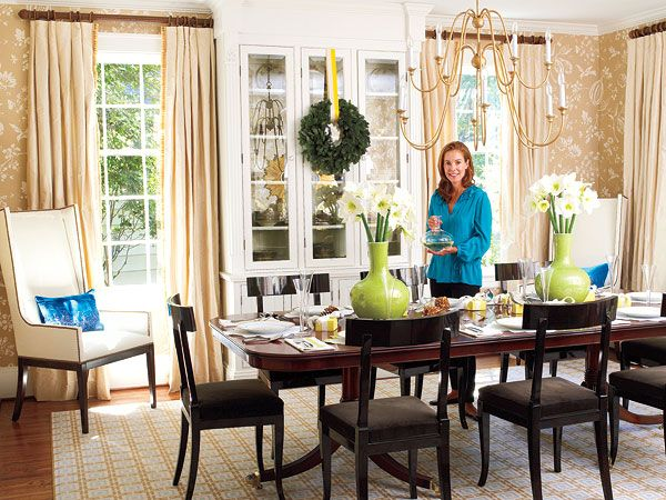 in this charlotte north carolina dining room a gold traditional botanical wallpaper - Carolina Dining Room