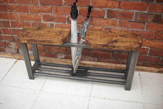 Rustic hallway bench double seat and by Redcottagefurniture