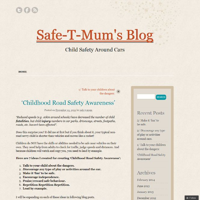 """""""Children do NOT have the skills or abilities needed to be safe near vehicles on their own. They need help from adults to check for traffic, judge speeds and distances. And because children will watch and copy you, you need to lead by example"""".  #blog #road #safety #tips #parents  http://safethand.wordpress.com/2012/12/22/childhood-road-safety-awareness/"""