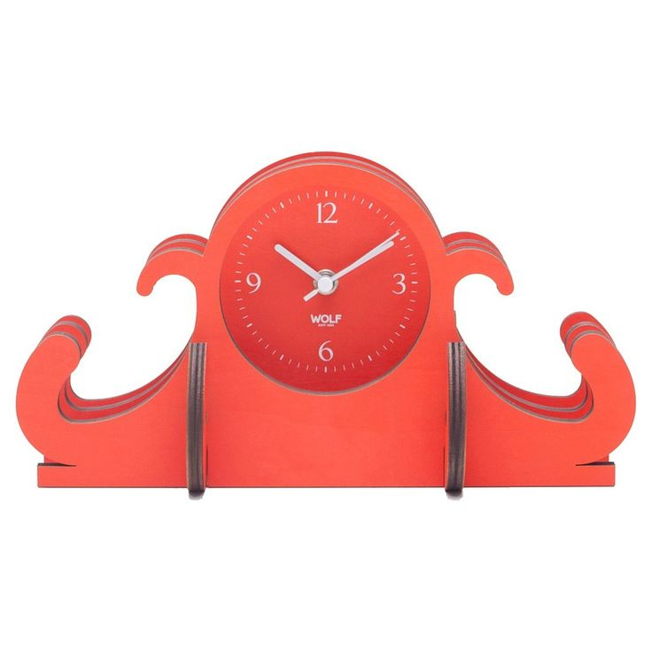 Wolf Jigsaw Mantel Table Clock - Orange