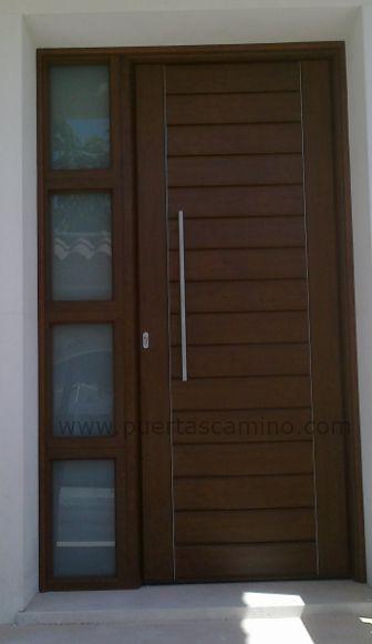 Puertas exteriores madera y crital buscar con google for Puertas de madera con herreria