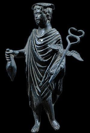 """Statue known as """"Lar of Mercury"""" - from Roman period - at the Museum of Naples"""