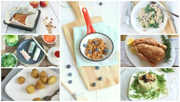 Weekmenu 11 makkelijke recepten met een eenpans spaghetti, een rucola kip, gebraden kip en krieltjes uit de oven. Check de blog voor het gehele weekmenu.