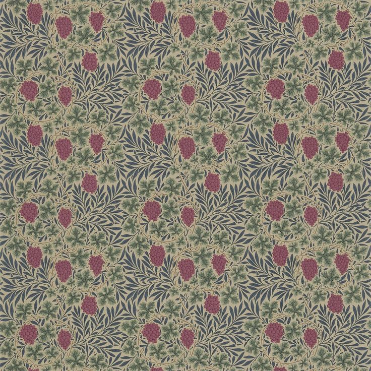 Vine Fabric - Russet/Heather (DMC1VN201) - William Morris & Co Compendium Prints III Fabrics Collection