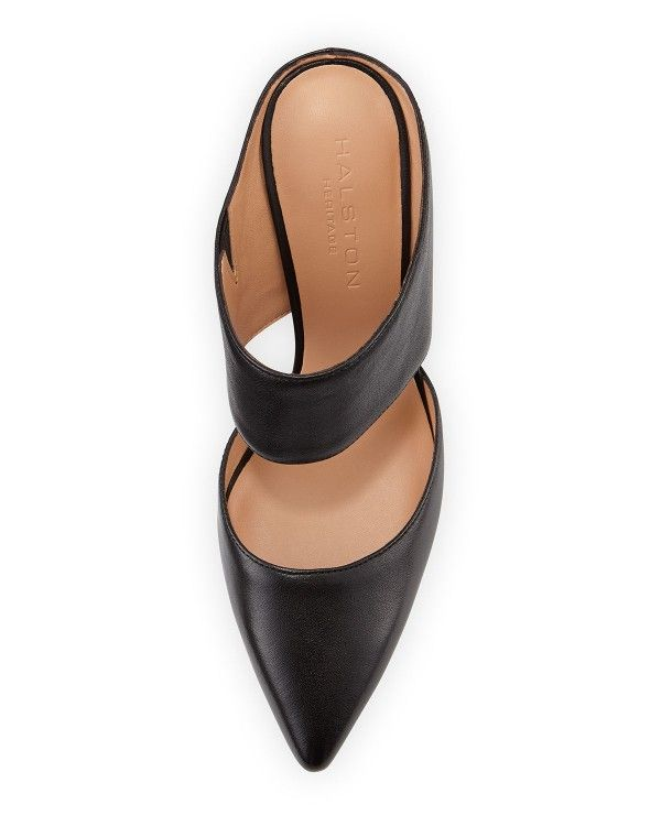 Halston Heritage - Isabella Leather Pointed-Toe Mule