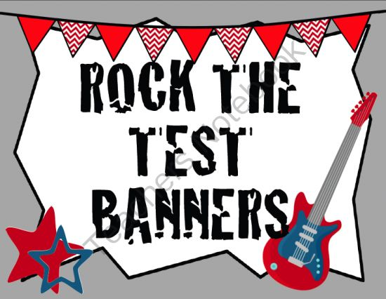 """""""Rock the Test"""" Banners from Mrs. A. Colwell's Creations on TeachersNotebook.com -  (44 pages)  - """"ROCK THE TEST"""" pennant banners to print."""