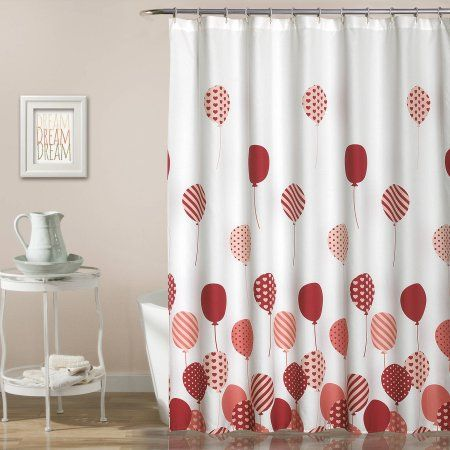 Flying Balloon Shower Curtain, Blue, 72 inch x 72 inch, Pink