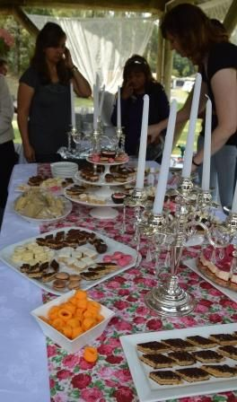 Several tables offered delicate sweets.