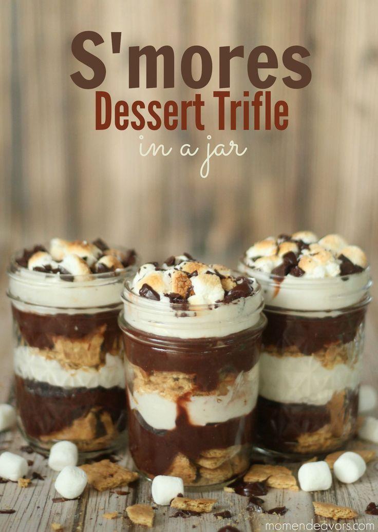 S'mores Dessert Trifle in a Jar - YUM! #recipe forget a trifle jar I need a big mason jar