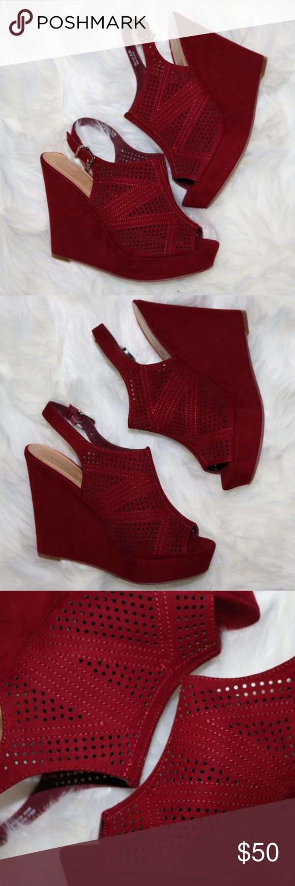 Chinese Laundry laser cut red wedge size 8.5 NWOT Chinese Laundry laser cut red wedge size 8.5 NWOT Chinese Laundry Shoes Wedges