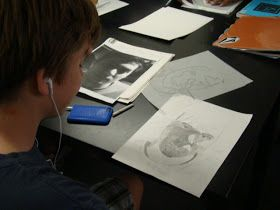 Art One value scale drawings... shading pictures of people from Oakridge Secondary school in London, Ontario, our sister school!  Don't be...