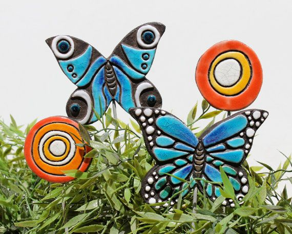 butterfly garden art plant stake garden decor by GVEGA on Etsy