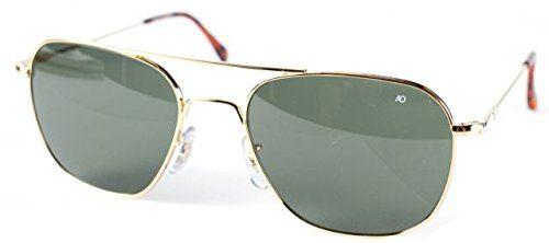 AO Original Pilot Sunglasses, Wire Spatula, Gold Frame, Green Glass Lenses, 52mm,