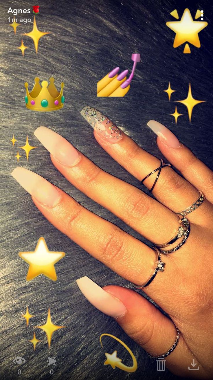 Clear acrylic nails with glitter