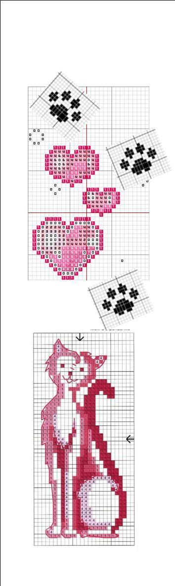 marque page chat rose point de croix