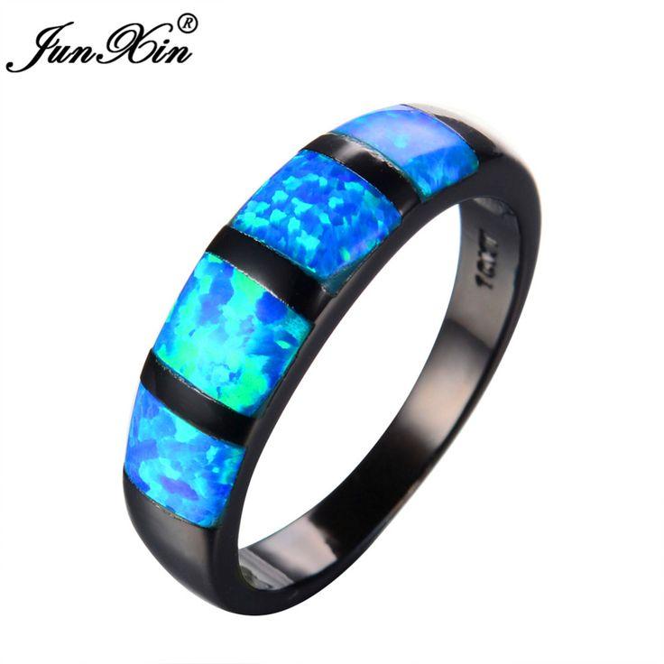 Junxin rotondo opale di fuoco blu anello black gold filled anelli di nozze d'epoca per le donne bague femme regalo gioielli di moda