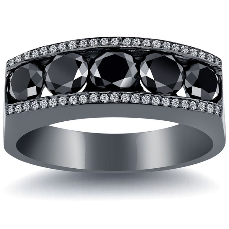 425 carat natural black white diamond mens wedding band ring 14k black gold